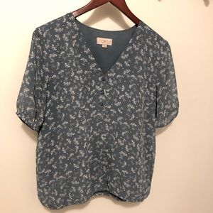 Loft Outlet Floral Short-Sleeved Blouse